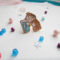 Значок «Котенок и коктейль»